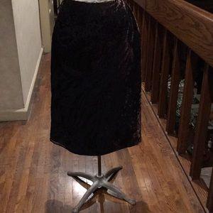 Anne Klein Petite brown burn out velvet skirt SP